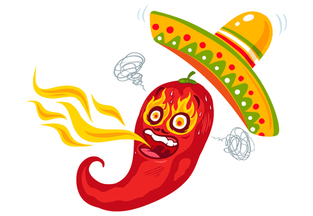 Vector illustration of a spicy chilli pepper with flame and sombrero. Cartoon red chili with fire for mexican or thai food.