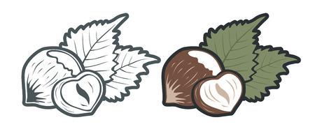 Vector set icons of hazelnut. Vector vintage emblems hazelnuts