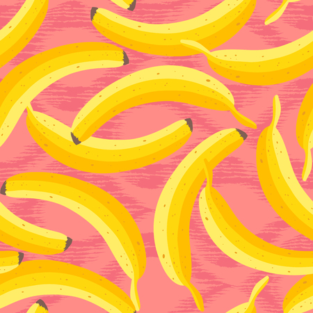 Vector seamless vintage pattern with yellow bananas. Vector banana pattern