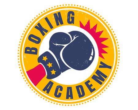 Emblème vintage de vecteur pour une boxe avec gant. Sport rétro pour la boxe