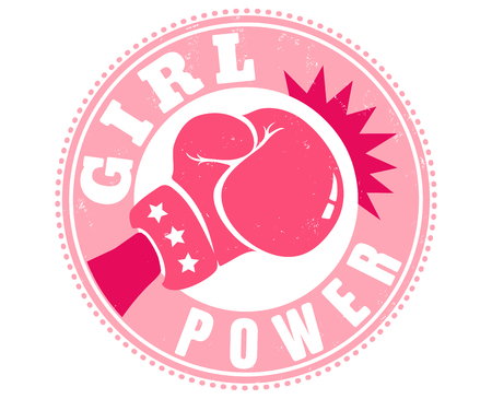 Vintage de vecteur pour une boxe avec gant rose. Emblème rétro pour la boxe féminine. Affiche Girl power Vecteurs