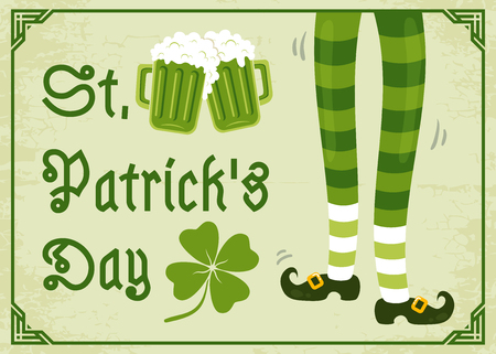 Vector vintage poster with clover and beer for Patricks day. Green clover, foots and two beer mugs.
