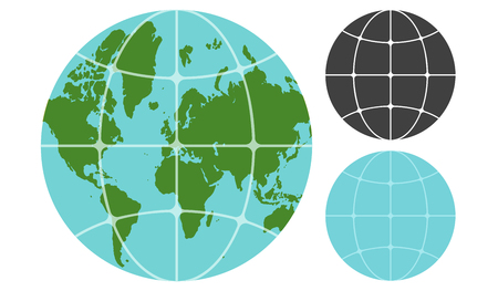 Vector illustration of Earth planet. Vintage globe icon with world map.