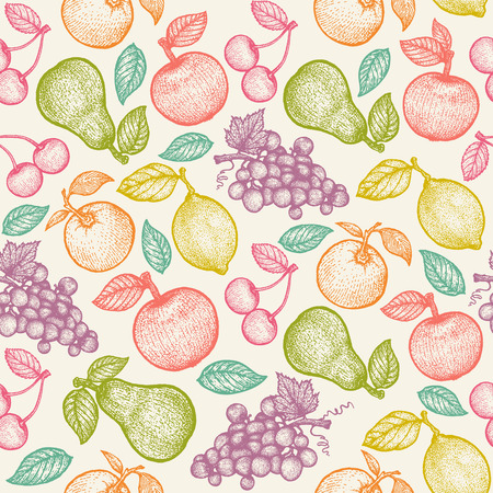 Vintage vector seamless fruit pattern in engraving style. Retro pattern with colorful fruits