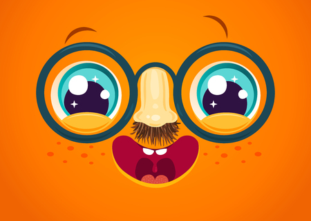Vector illustration of cute face for april fools day. Kawaii face with eyes and freckles. April fools' day Ilustrace