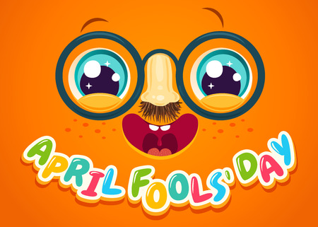 Vector illustration of cute face for april fools day. face with eyes and freckles. April fools' day
