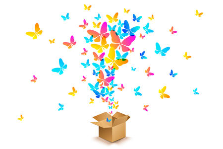 Vector colorful butterflies from open cardboard box. Surprise for birthday, wedding or other holiday. Illustration