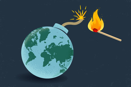 Vector vintage poster of a bomb with World map and match in fire. Earth like bomb with match in fire. Peace. Imagens - 124122759