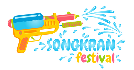 Vector   gun for Songkran festival in Thailand.   water festival with gun.
