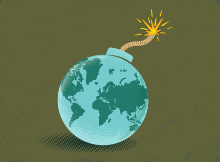 Vector vintage illustration of a bomb with World map. Earth like bomb on vintage backgrounde. Peace. Illustration