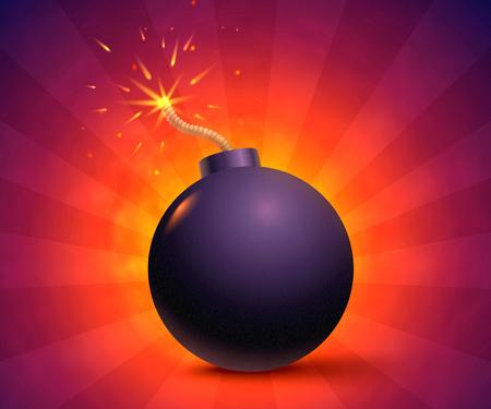 Illustration of a bomb with sparks. Black bomb on orange background.