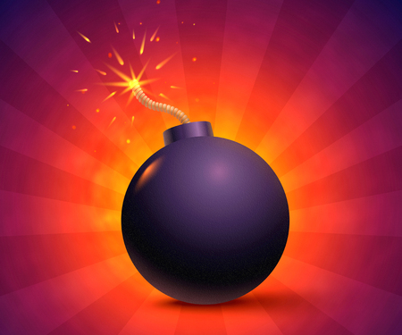 Illustration of a bomb with sparks. Black bomb on orange background.