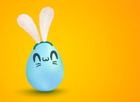 Lettering for Easter. Banner with lettering Happy Easter and egg with  face. Cute blue egg with bunny ears.
