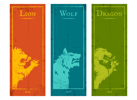 Vector set vintage posters with lion, wolf and dragon. Vintage banners with animals for game background.