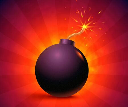 Illustration of a bomb with sparks. Black bomb on orange background. Фото со стока - 130571339