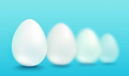Vector set realistic white eggs. Vector white eggs on blue background. 3d eggs.