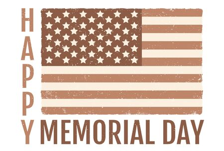 Vector American flag for memorial day. Vintage flag of USA for memorial day
