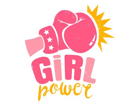 Vector vintage logo for a boxing with pink glove. Retro emblem for women boxing. Poster of Girl power with pink glove Çizim