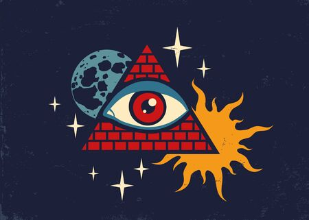 Vector vintage illustration of a pyramid with the eye, the moon, sun and stars. Retro poster with pyramid and eye Vectores