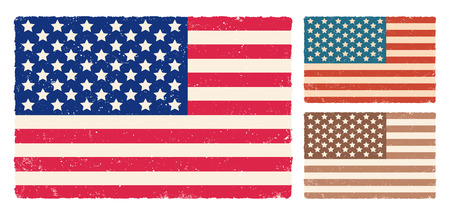 Vector American flag for memory day. Vintage flag of USA for memory day or 4 th july Foto de archivo - 130571254