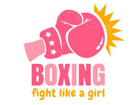 Vector vintage logo for a boxing with pink glove. Retro emblem for women boxing. Poster of Girl power with pink glove 矢量图像