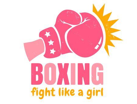 Vektor-Vintage-Logo für ein Boxen mit rosa Handschuh. Retro-Emblem für Frauenboxen. Poster von Girl Power mit rosa Handschuh Logo