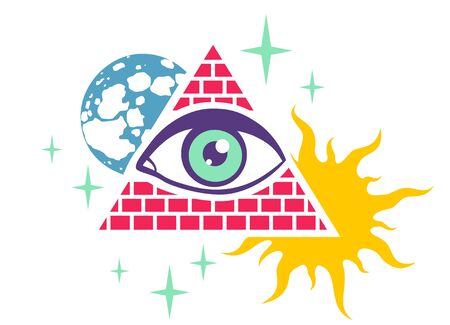 Vector vintage illustration of a pyramid with the eye, the moon, sun and stars. Retro poster with pyramid and eye Vektorové ilustrace