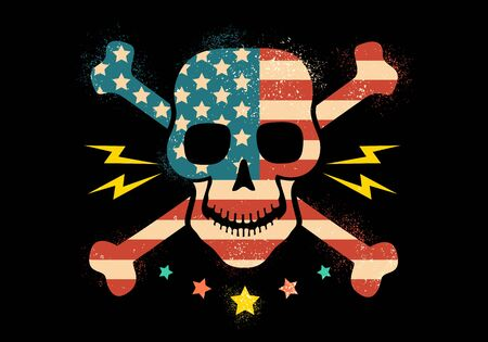 Vector vintage skull with american flag. Skull with flag of USA Banco de Imagens - 130571260