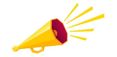 Vector vintage poster with retro yellow megaphone. Retro yellow megaphone on white background.