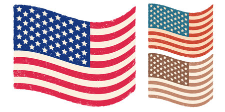 Vector American flag for memory day. Vintage flag of USA for memory day or 4 th july Foto de archivo - 130571179
