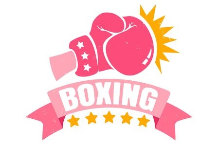 Vector vintage logo for a boxing with pink glove. Retro emblem for women boxing. Poster of girl boxing with pink glove and ribbon