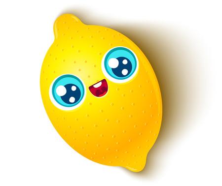 Vector illustration of a cute lemon in kawaii style. Kawaii lemon on white background.
