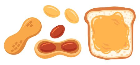Vector illustration of set peanuts and peanut butter. Vector set of peanut snack.