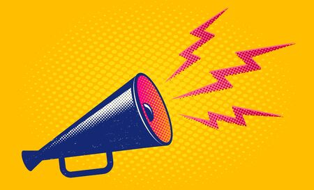 Vector vintage poster with retro megaphone on yellow background. Retro megaphone on yellow halftone background.
