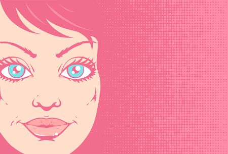 Vector vintage illustration of a beautiful girl face on pink halftone background. Retro illustration of a girl portrait in comics style. Çizim
