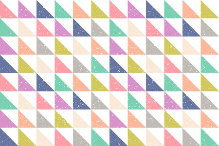 Vintage vector seamless pattern in retro style. Retro colorful pattern with grunge abstract triangles. Vintage vector texture in 60s style.