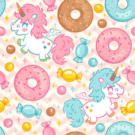 Vector seamless pattern with cute unicorn and donuts and candies. Funny pattern for children with cute unicorn and donuts. Kids pattern with unicorns in kawaii style. Unicorn and sweet candy. Illustration