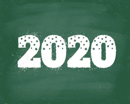 Vector vintage greeting card with 2020 on chalkboard for Christmas and New year. Back to school 2020.