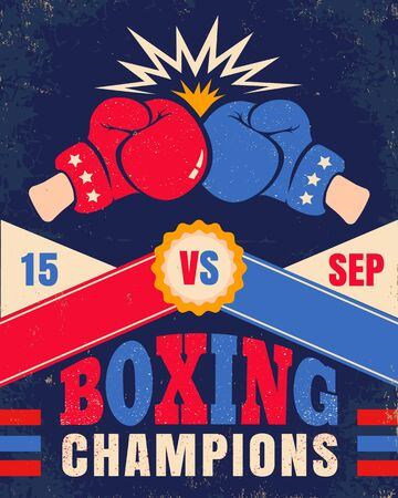 Vector vintage poster for a boxing with two gloves. Poster with emblem for boxing on old paper background.