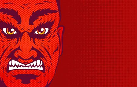 Vector vintage illustration of a angry man face on red halftone background. Retro illustration of a angry man portrait in comics style.