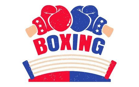 Vector vintage  for a boxing with red and blue gloves and boxing ring. Retro emblem for boxing. Poster of a boxing with gloves and ring Standard-Bild - 128881489