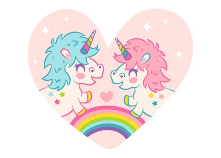 Vector greeting card  with cute unicorns  style. Vector card cute unicorns for Valentines day. 向量圖像