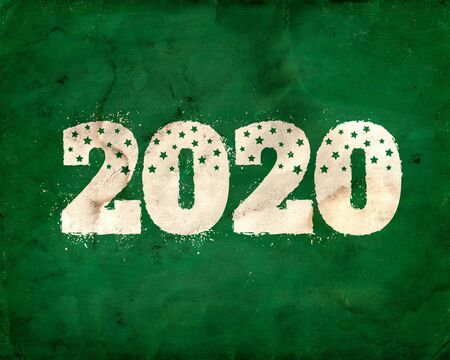 Vintage greeting card with 2020 on chalkboard for Christmas and New year. Back to school 2020. Zdjęcie Seryjne