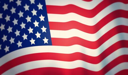 Closeup American flag. Macro vintage of rippled American flag. Flag of USA. Stok Fotoğraf