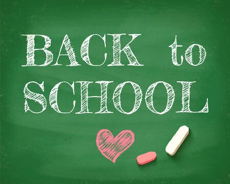Vintage greeting card Back to school 2020. Back to school on the chalkboard. Zdjęcie Seryjne - 128881482