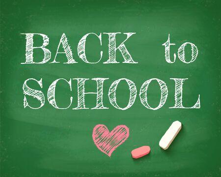 Vintage greeting card Back to school 2020. Back to school on the chalkboard. Zdjęcie Seryjne