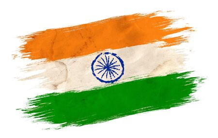 Vintage flag of India. Indian flag in grunge style. Indian independence day.