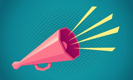 Vector vintage poster with retro pink megaphone on blue background. Retro megaphone on blue halftone background. Imagens - 131962501