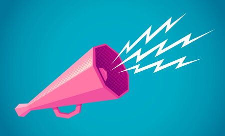 Vector vintage poster with retro pink megaphone on blue background. Retro megaphone on blue halftone background. Imagens - 131965008