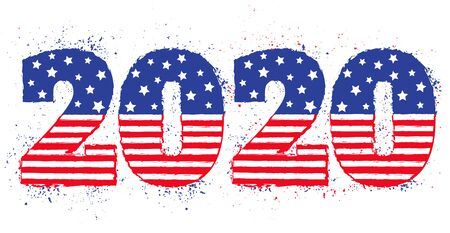 Vector vintage greeting card with 2020. Election 2020 like american flag. Vote 2020.